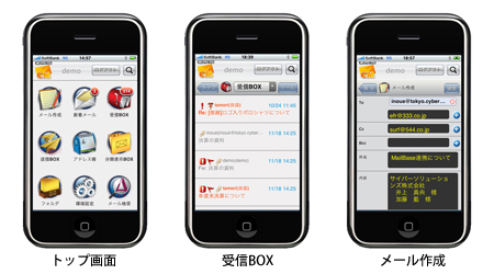 iPhoneに対応したWebメールの専用インターフェイス